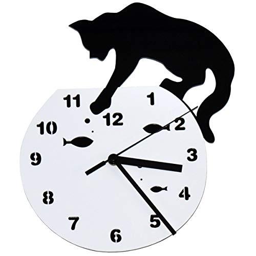 Xiuyer Wanduhr Acryl Kreative Cartoon Katze & Fisch Wanduhr ohne Tickgeräusche Wohnkultur Uhr für Wohnzimmer Schlafzimmer Küche Wall Clock (Schwarz & Weiß, 30,5x21,5cm) - Typ 2
