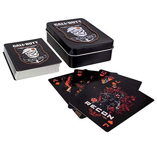 Call of Duty Black Ops 4 Cartas de Juego | Logotipos COD y Tarjetas de Emblema | Incluye Lata de Almacenamiento de Metal Premium en Relieve | Juego de Cartas de póquer Recubierto de plástico