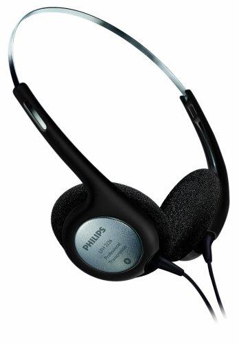 Philips LFH2236 Stereo Kopfhörer f. Diktier- und Wiedergabegeräte mit 3,5mm Klinkenstcker, Ohrpolster, schwarz/silber