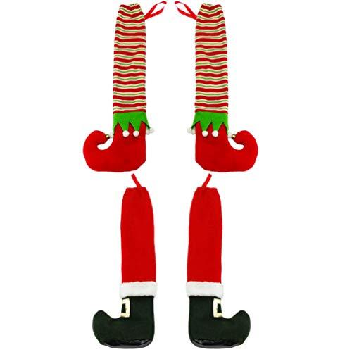 Cabilock 4Pcs Stuhl Bein Socken Weihnachten Stuhl Tisch Bein Ärmelbezüge Weihnachten Santa Claus Elf Design Möbel Bein Bodenschutz für Urlaub Abendessen Bankett 42X14x1cm