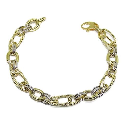 Never say Never - Bracciale da Donna in Oro Giallo e Bianco 18 carati, Lunghezza 19 cm, Larghezza 0,7 cm, Peso 5,35 g in Oro 18 kt.