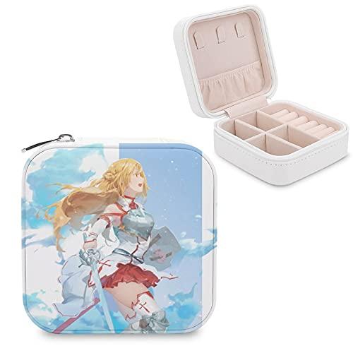 Anime Sword Art Online Yuuki Asuna Joyero de piel sintética de viaje portátil, para collar, pendientes, pulseras, anillos, relojes, caja de almacenamiento para mujeres