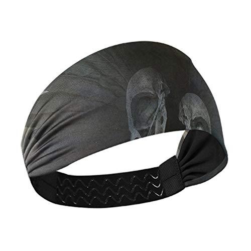Diadema para lavar la cara Diseño de espíritu de cuervo con calaveras de cabeza Alas negras Diademas elásticas para mujeres con correas elásticas antideslizantes para correr Fitnes
