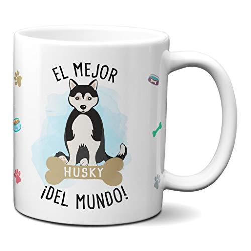 Planetacase Taza el Mejor Husky del Mundo Regalo Original Taza Perro Ceramica 330 mL