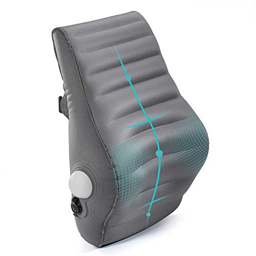 ElegearLumbarSupport Pillow [50sManualInflation]Multifunctional Inflatable Office Back Cushion Pillow Ergonomic Design for Back Pain Relief Travel Pillow Back Support Backfor Car Office Chair