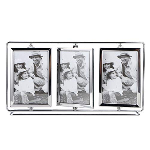 Rotating Photo Frames 7.5 Inch, Glass Picture Frames Holder Photo Display Picture Stands on Tabletop for Family Wedding Baby Birth