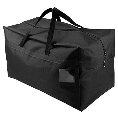 AMJ Christmas Decorations Storage Container Bag | Holds Xmas Trees, Lights, Balls etc, Unzippered Top Three Side Open Bag, Black