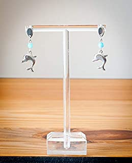 Boucles d/'oreilles enfants puces en argent dauphin pierre en cristal bleu clair