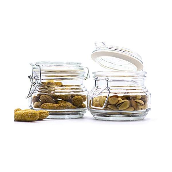 Tarros de Vidrio con Tapa Botes de Cristal para Cocina con Cierre Herm/ético de Clip con Junta de Silicona Conserva y Preserva Mililitros Impresos en el Bote 500 ml