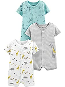 Simple Joys by Carter's 3-Pack Snap-up Rompers Infant-and-Toddler-Bodysuit-Footies, Estampado de Jirafa/Oso, 6-9 Months, Pack de 3