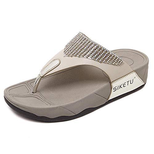 WHYES Beach Outdoor Sandals Chaussures de Plein air en Strass pour Femmes et Pantoufles, Mot Drag @ Gold_36