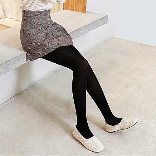 Leggings más Cachemir Leggings Cálidos para Mujer Legging De Terciopelo De Cintura Alta Leggings Sólidos De Otoño De Talla Grande XL Negro