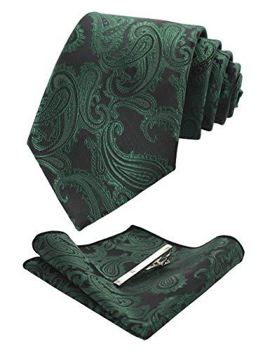 JEMYGINS Graziös Paisley Elegant Herren Krawatte und Einstecktuch mit krawattenklammer Sets (Dunkelgrün2)