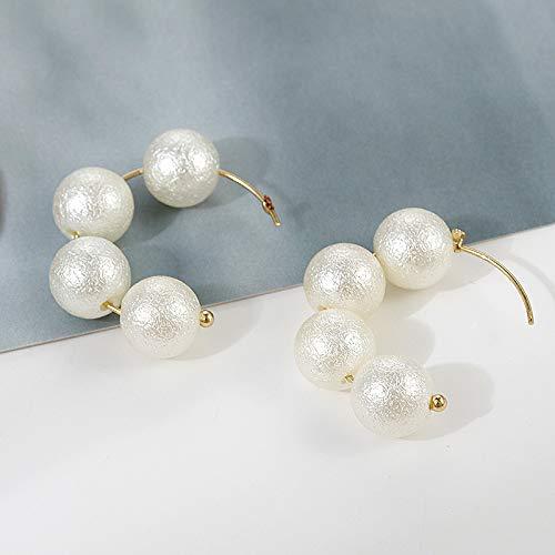 QYMX Pendiente Mujer, Pendientes de aro de Perla de algodón de Moda para Mujer Declaración Japón Pendientes de aro Redondos Joyería de Boda Regalo de Fiesta
