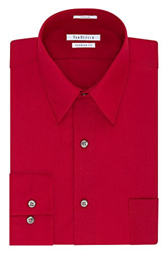 Van Heusen Men's Dress Shirt Regular Fit Poplin Solid, Flame, 16' Neck 32'-33' Sleeve (Large)