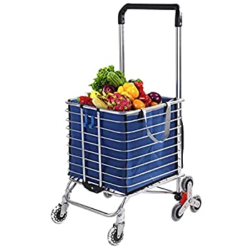 Grocery Cart with Wheels Folding Shopping Cart with Large Heavy-Duty and Rolling Swivel Wheels Utility Lightweight Stair Climbing cart with Removable Waterproof Canvas Bag