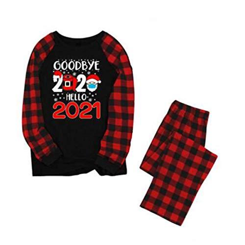 FHEDE Weihnachten Familie Outfit Set,Familien-Schlafanzug mit Weihnachtsmotiv, passende Nachtwäsche für Damen Herren Kinder und Kleinkind (Mama, XL)