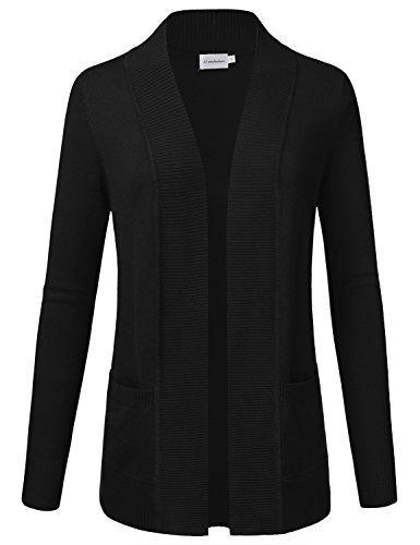 JJ Perfection Women's Open Front Knit Long Sleeve Pockets Sweater Cardigan Black L