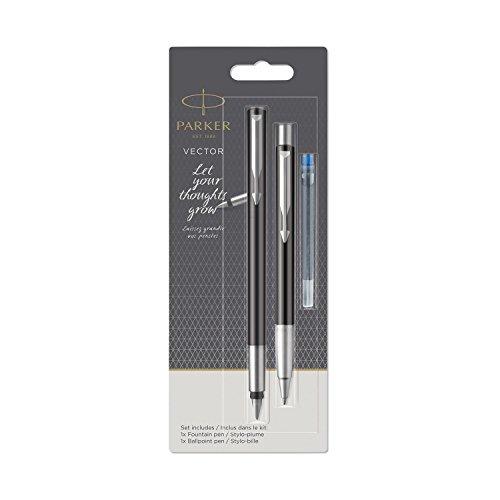 Parker 2055854Vector de pluma estilográfica y bolígrafo Set, Negro Con Cromo Compartir Ornamentales, tinta azul