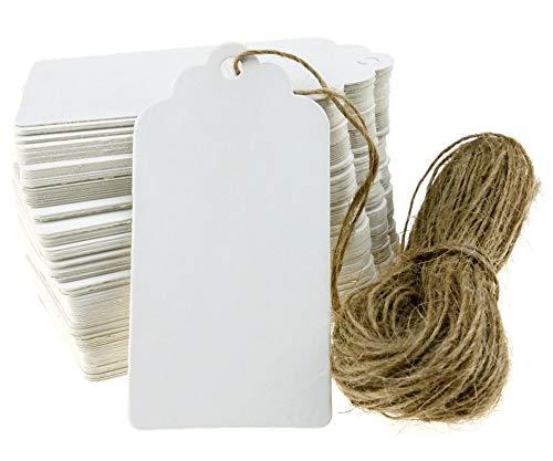 Etiquetas de papel kraft blancas, etiquetas de regalo para fiestas de boda, 100 etiquetas de equipaje, etiquetas de tarjetas de deseos en blanco con cadena de 20 m