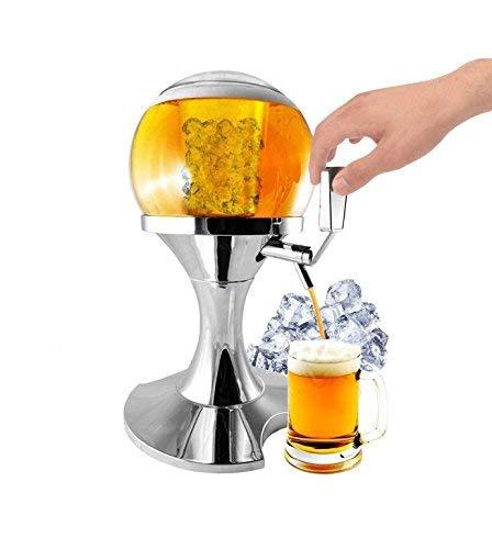 PRICEKILLER - Spillatore birra da 3,5L con vano centrale ghiaccio Distributore dispenser refrigerato bibite drink per casa, pub, discoteche, party forma pallone rotondo