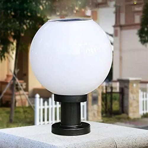 No-Branded Floor lamp Waterproof Solar Circular Wall Light Solar-Powered Ball-Shape LED Wall Light Fence Street Lamp Decoration TATcuican (Color : White, Size : 30cm)