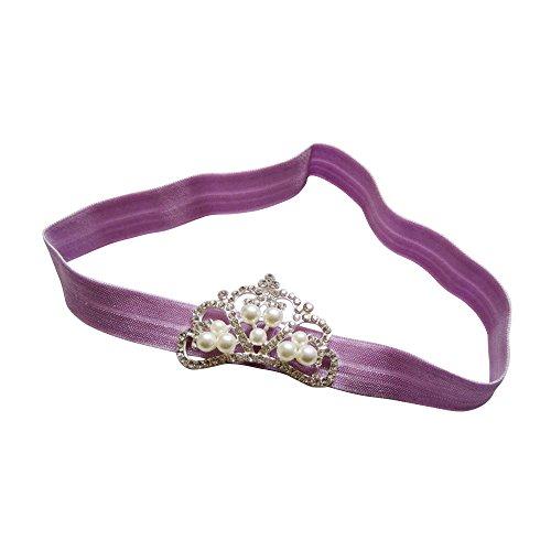 Merssavo 1pc Violet Bébé Filles Princesse Bandeau Strass Couronne Cheveux Bande Comfy Élastique Headwear