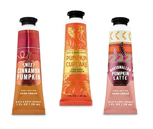 Bath and Body Works - 3 Pack Pumpkin Collection - Sweet Cinnamon Pumpkin, Marshmallow Pumpkin Latte and Pumpkin Cupcake- Hand Cream 1 Oz.
