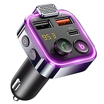 AINOPE 2021 Upgraded Bluetooth FM Transmitter for Car Adapter Stronger Microphone & Bass Sound Bluetooth Radio Transmitter Car Adapter Support 42W PD+QC3.0 7 Colors LED Backlit Wireless Call