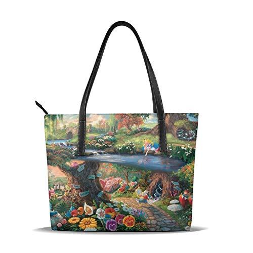 Alice im Wunderland Handtasche, modisch, 3D-Druck, hochwertiges Mikrofaser-Leder, große Kapazität, wasserdichte Handtasche für Frauen