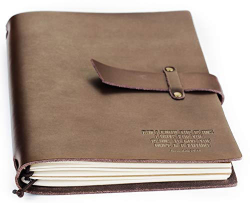 Double Creek Refillable Genuine Leather Journal Embossed For I Know The Plans Jeremiah 29:11 Scripture  8.5 x 6 inch Includes (3) 30-Page Lined Notebooks - Vintage Style Real Leather Notebook Diary