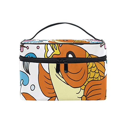 Fish Bird Floral Cosmetic Bag Toiletry Travel Makeup Case Handle Pouch Multi-Function Organizer for Women