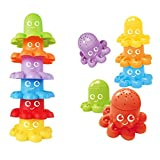 Verlike 6Pcs Badespielzeug Cute Octopus Animal Stacking Cups Baby-Badespiel Education Toy Gift, Lernspielzeug, Lightweight, Funny to Play 6 Farben