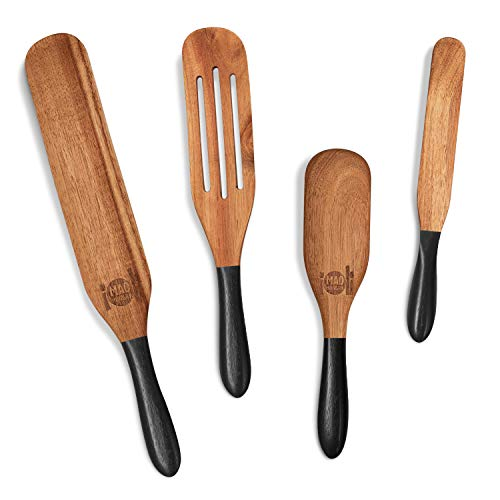 As Seen on TV, Mad Hungry Spurtle 4pc Set, Acacia Premium Wood Finish, Cooking Utensils for Non Stick Cookware, Baking, Whisking, Smashing, Scooping, Spreading, Serving and More.