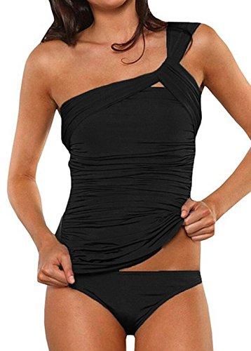 Asskdan Damen Drucken Neckholder Tankini Badeanzug Hot Frauen Streifen Rückenfrei Monokini Raffinerten Bademode (M, Schwarz)