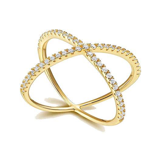 Titaniumcentral Sterling Silber Vergoldet Criss Cross X Ringe (Gold-2mm, 58 (18.5))