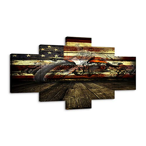 """Vintage Motorcycle Canvas Prints Wall Art US American Flag Wall Decor Rustic Autocycle Picture Autobike Painting for Home Office Posters Framed Ready to Hang (60""""Wx32""""H, motorcycle artwork)"""