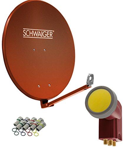 SCHWAIGER -4616- Sat Anlage, Satellitenschüssel mit Quad LNB (digital) & 8 F-Steckern 7 mm, Sat Antenne aus Aluminium, Ziegelrot, 88 x 88 cm