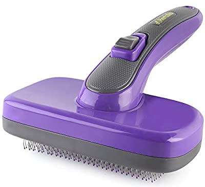 Hertzko Self Cleaning Slicker Brush with Plastic Tips for Sensitive Dogs and Cats. Gently Removes Loose Fur, Undercoat, Mats, and Tangled Hair. Safe and Painless for Your Pet. Large by Hertzko