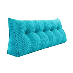 Large wedge headboard reading pillow for two boy kids Sky blue