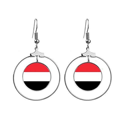 Jemen Nationale Vlag Azië Land Oorbellen Dangle Hoop Sieraden Drop Cirkel