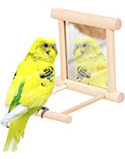 Bird Toy, Natural Wooden Bird Swing with Mirror, Parakeet Toys Bird Cages for Parakeets Bird Cage Accessories with Metal Hook