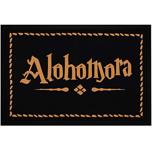MoonWorks® Felpudo con texto 'Alohomora', antideslizante, lavable, color negro, 60 x 40 cm