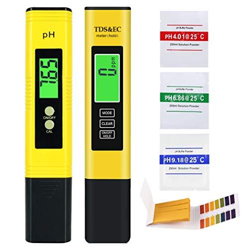 AYUQI Medidor PH, Medidor de PH TDS EC Temperatura 4 en 1 Digital con Pantalla LCD Resolución 0.01 Calibración Automática para Acuario, Piscina de Agua Hidropónica, Laboratorio (Amarillo)