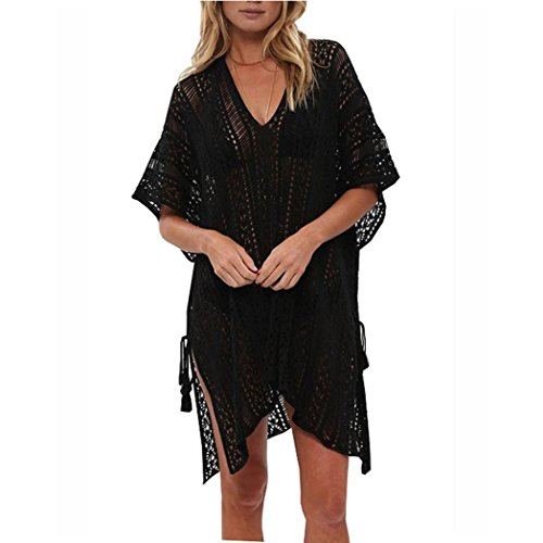 OVERDOSE Frauen Baden Beach Cover Up Kleid Bikini Badeanzug Bademode Crochet Smock(Black,Freie Größe