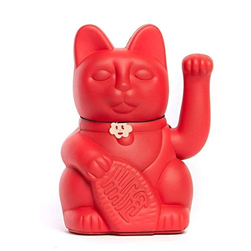 Gato de la Suerte chino. Lucky Cat. Maneki Neko. COLOR ROJO FRESA 10x6x15cm.