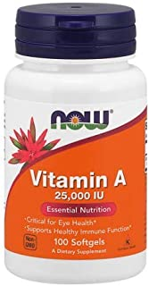 Vitamin A 25000 IU, 100 Sgels by Now Foods (Pack of 2)