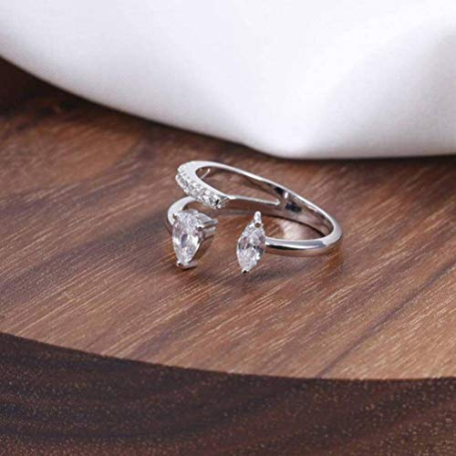Elegant Dress S925 Sterling Silver Ring Drop Diamonds Exquisite Opening Ring Love Like High-End Wedding Ring Female, Silver