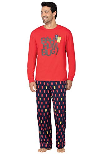 PajamaGram Mens Christmas Pajamas Cotton - Men Pajamas Set, Xmas Presents, Large