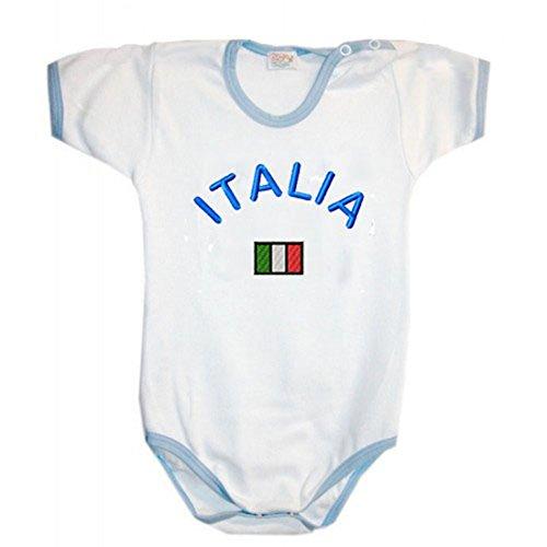 Zigozago Body Made in Italy korte mouwen wit handgemaakt van katoen met de kleuren van de vlag Italië